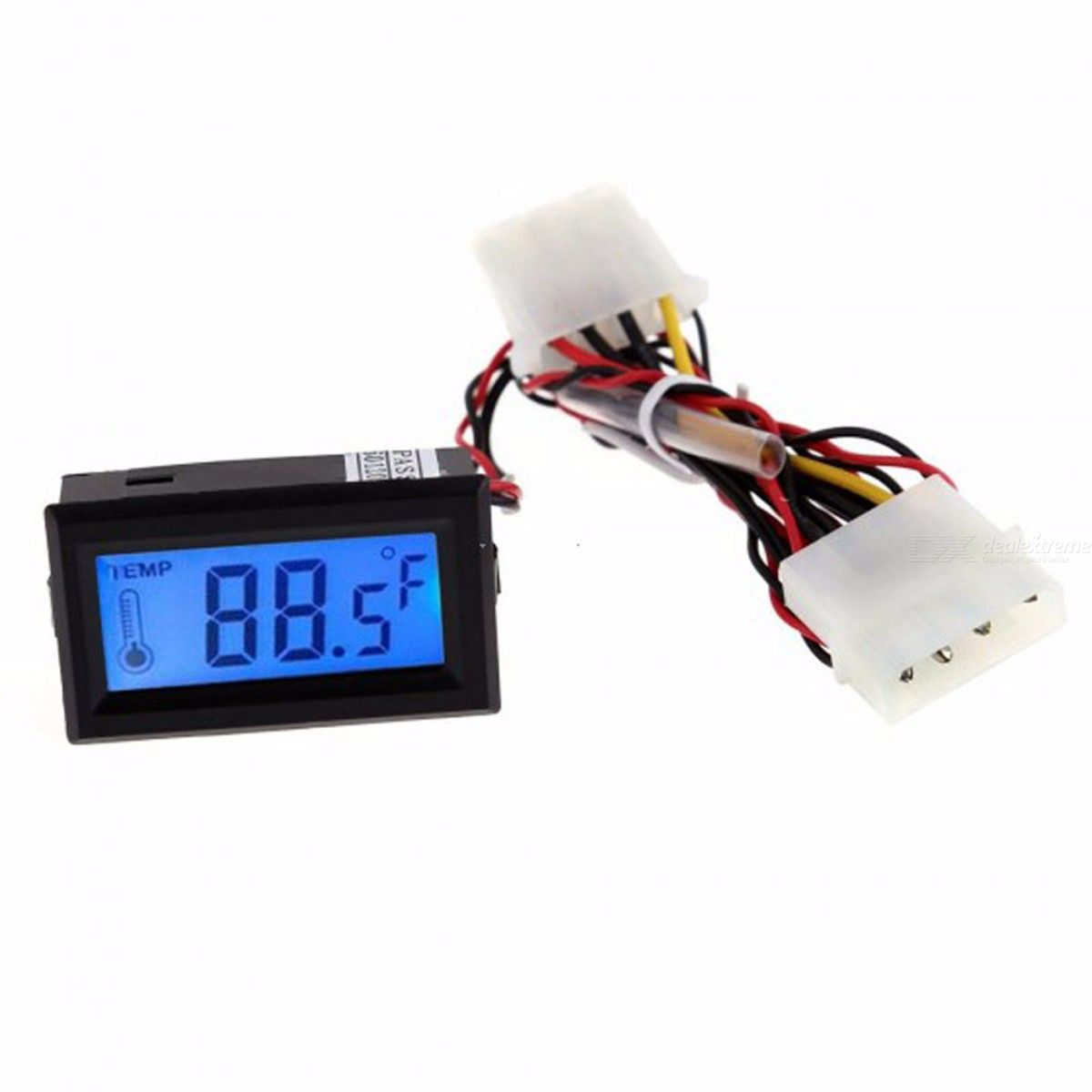 Digital PC Mod Thermometer Temperature LCD Instrument Long Probe Line