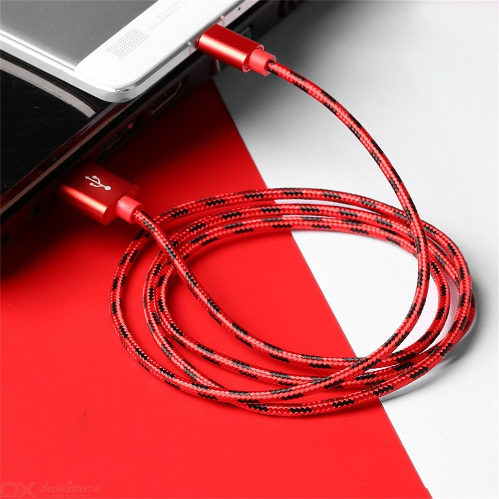 1M MICRO USB / 8 PIN Mobile Phone Charging Cable Nylon Braided Data Line For IPHONE IPAD Android