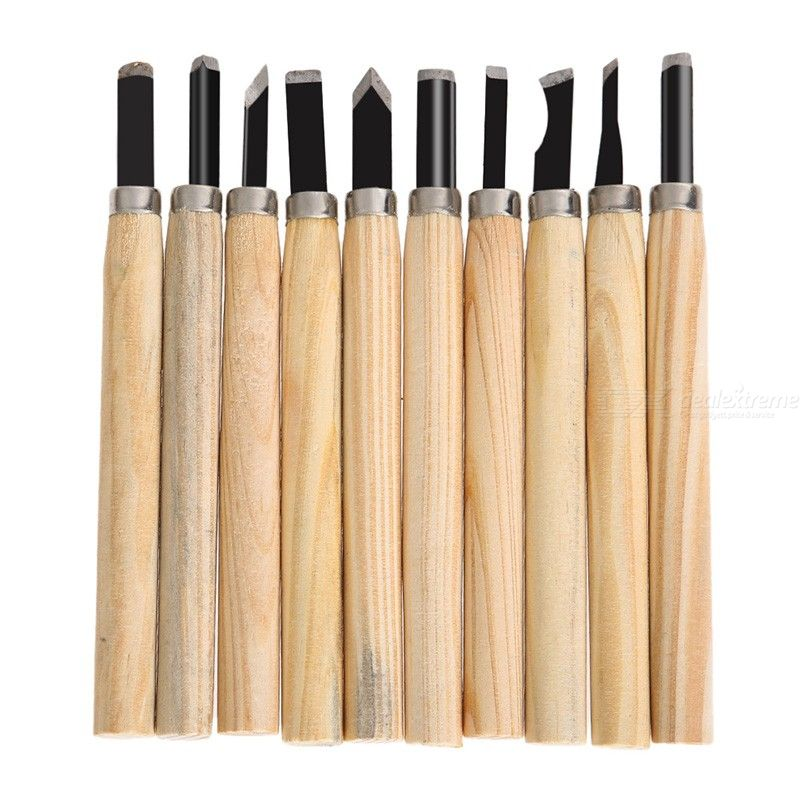 10Pcs/Set Hand Wood Carving Chisels Knife Tool Basic Woodcut Working Clay Wax DIY Woodworking Hand Tools