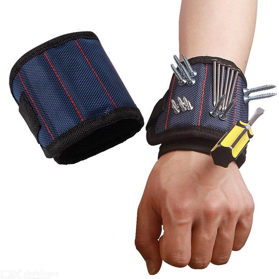 Polyester Magnetic Wristband Portable Tool Bag Electrician Wrist Belt Screws Nails Drill Bits Holder Repair Tools