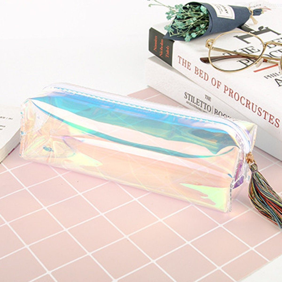 Kawaii Cool Laser Transparent Color Tassel Pencil Case Stationery Gift School Supplies