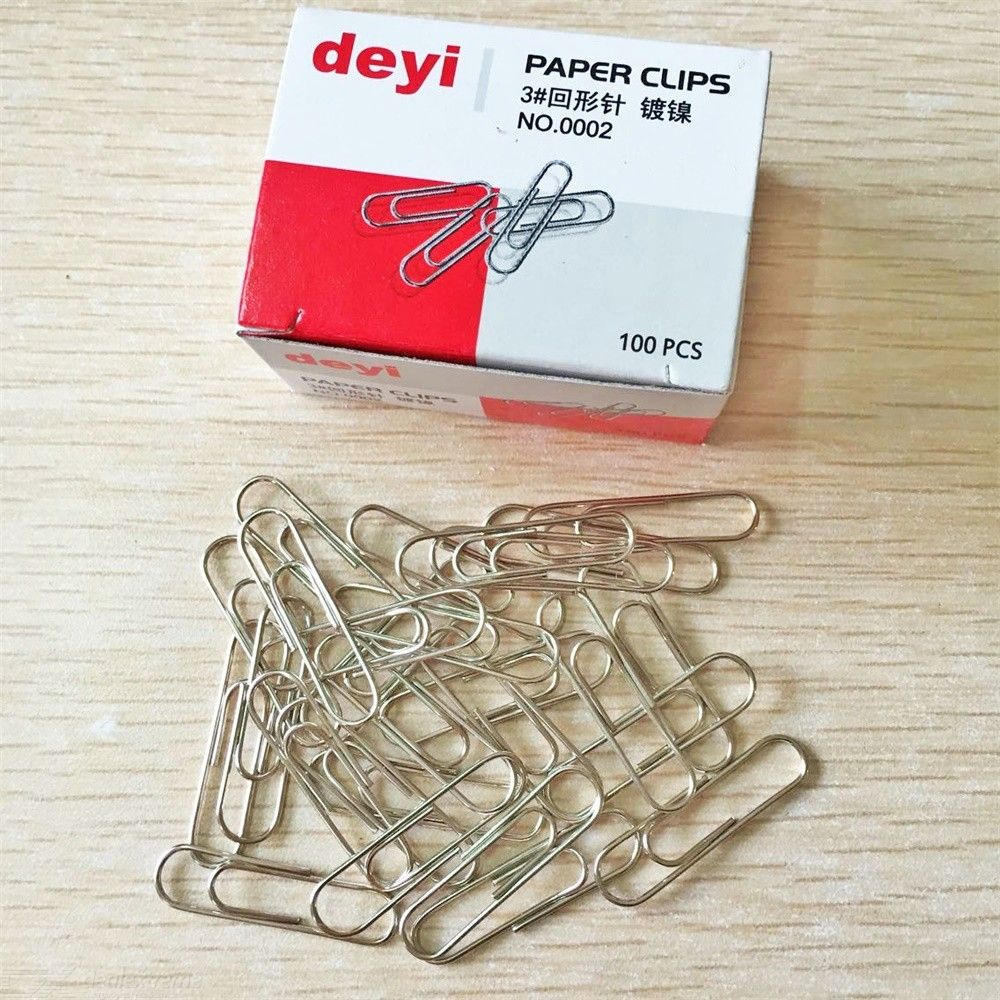 100Pcs Office Plain Steel Paper Clips Metal Paperclips Stationary Office Accessories School Supplies