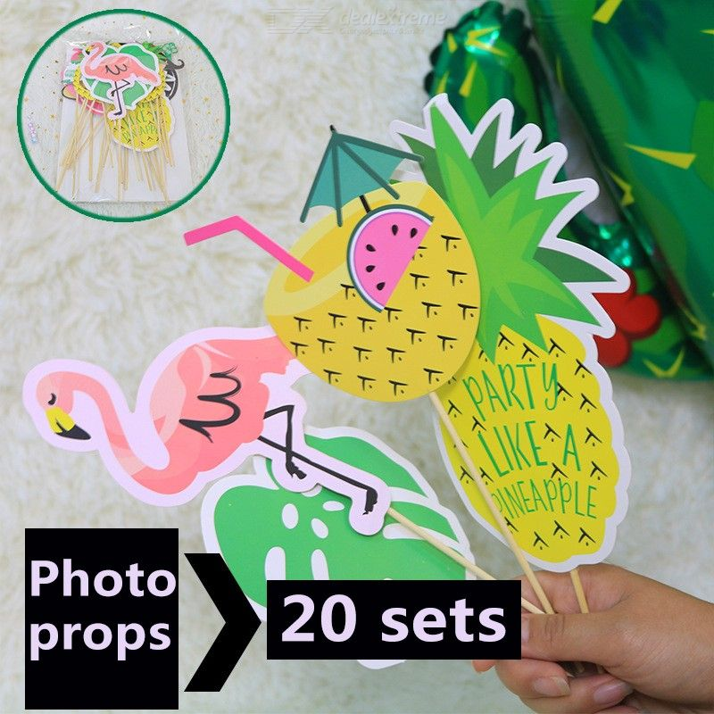 20PCS Flamingo Photo Props Kit Party Photographing Tool