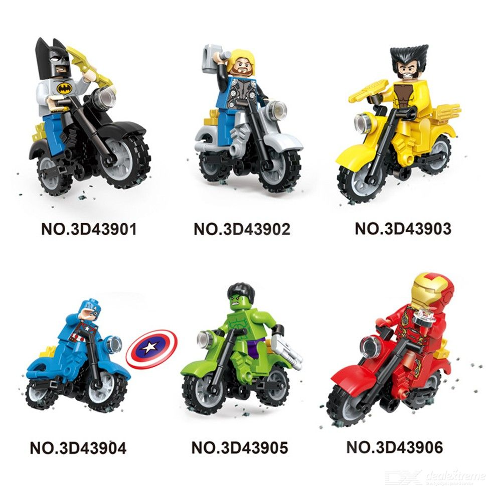 6pcs Super Heroes Motorcycle Collection Building Blocks Sets Model Bricks Toys For Children