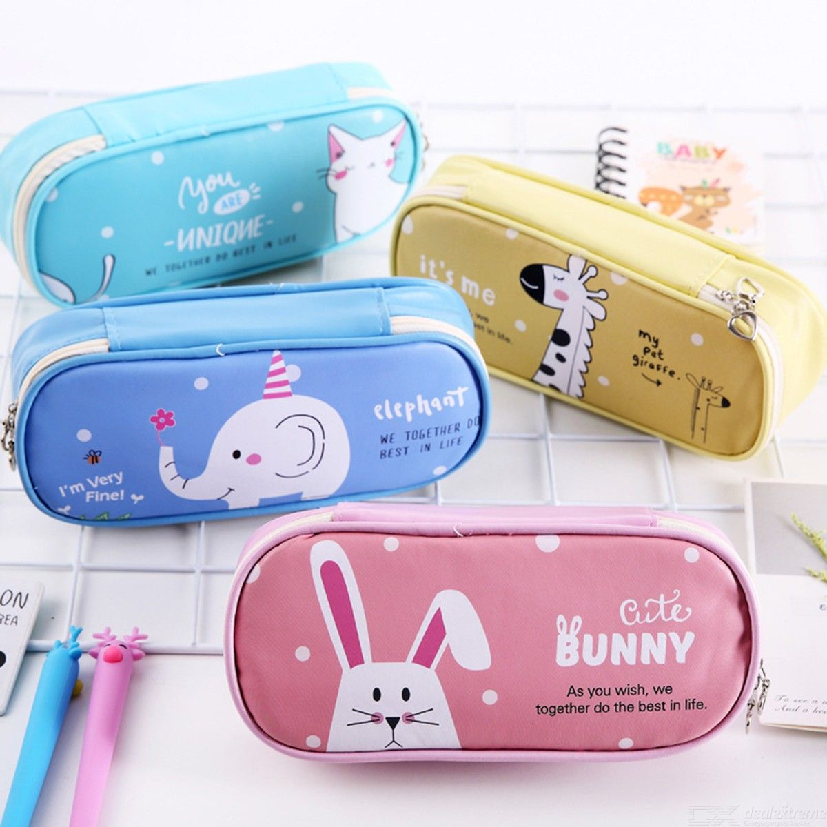 Student Stationery Cartoon Animal PU Large Capacity Pencil Bag Creative Cute Multi-Function Waterproof Pencil Case