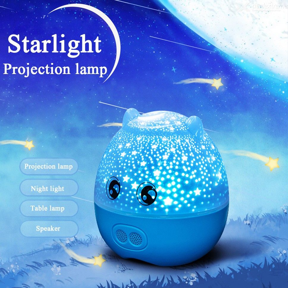LED Star Projection Night Light 3 Color Changing Projector Light With Speaker 360 Degree Rotation Range