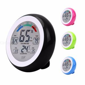 LCD Touch Screen Household Thermometers Round Shape Humidity Monitor Hygrometer Home Use Accurate Record