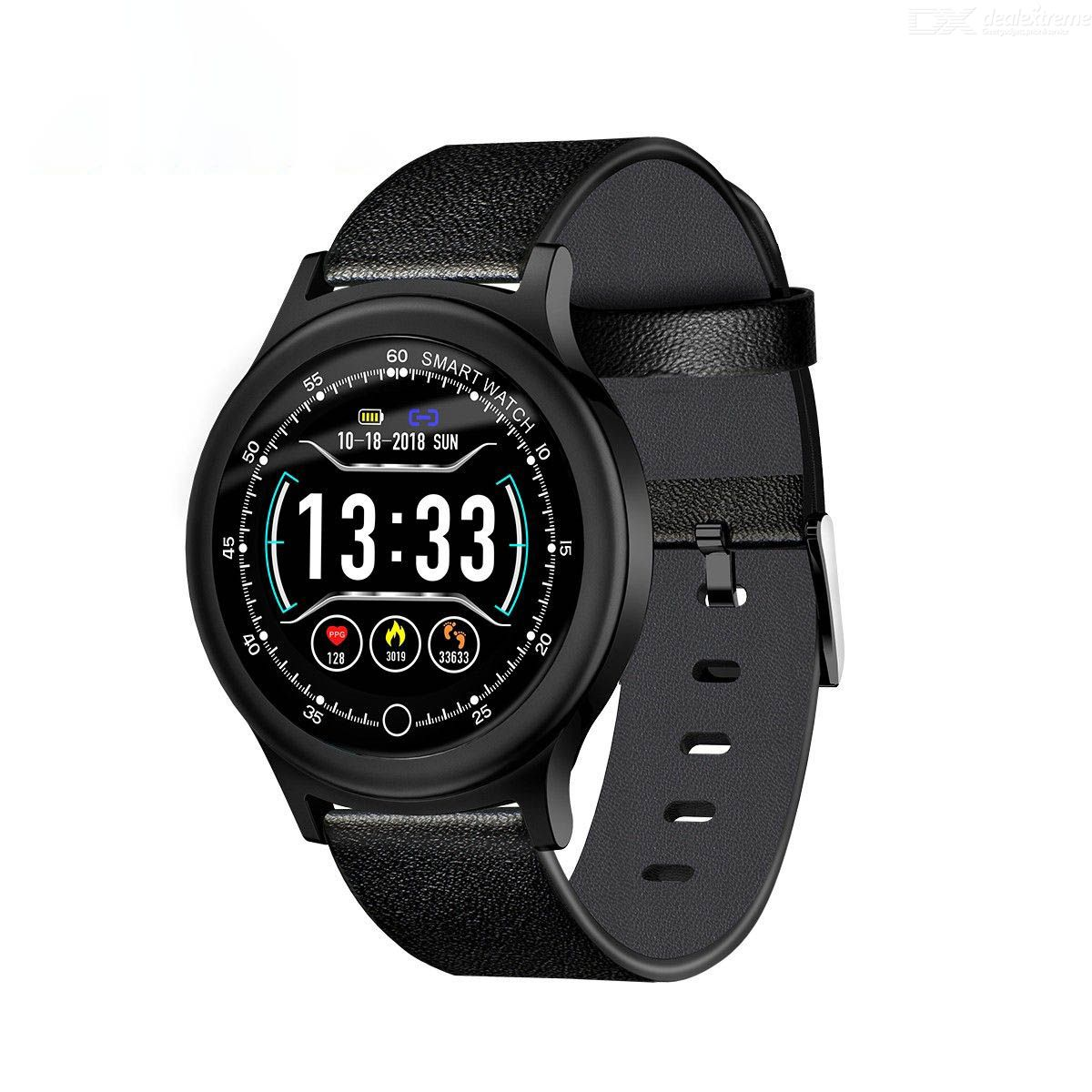 Smart Sports Bracelet Heart Rate Blood Pressure Monitoring Pedometer Watch with Leather Strap for IOS Android