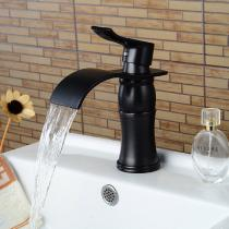Contemporary-Waterfall-Brass-ORB-Finish-Bathroom-Sink-Faucet-Black