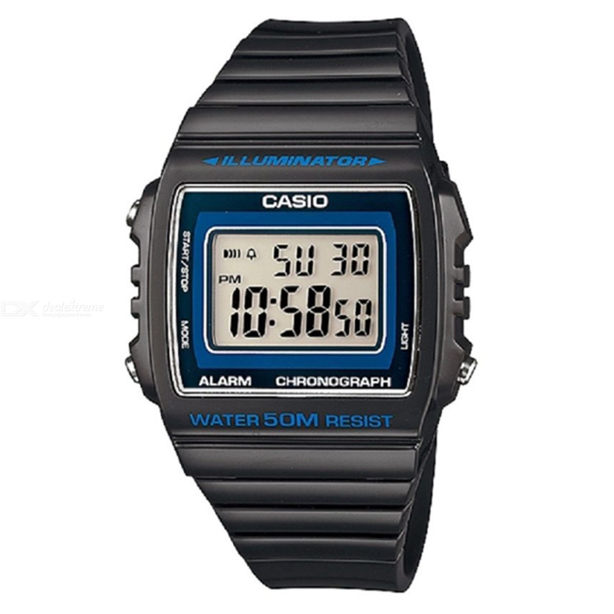 CASIO W-215H-8AVDF Men's Wristwatch - Black + Blue (Without Box)