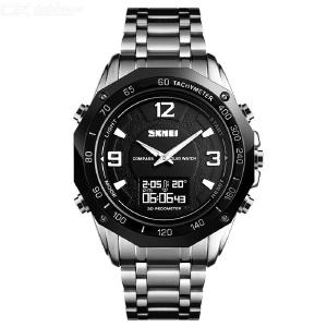 SKMEI Multifunction Waterproof Quartz Wristwatches Men Thermometer Compass Watch With Steel Strap 1464