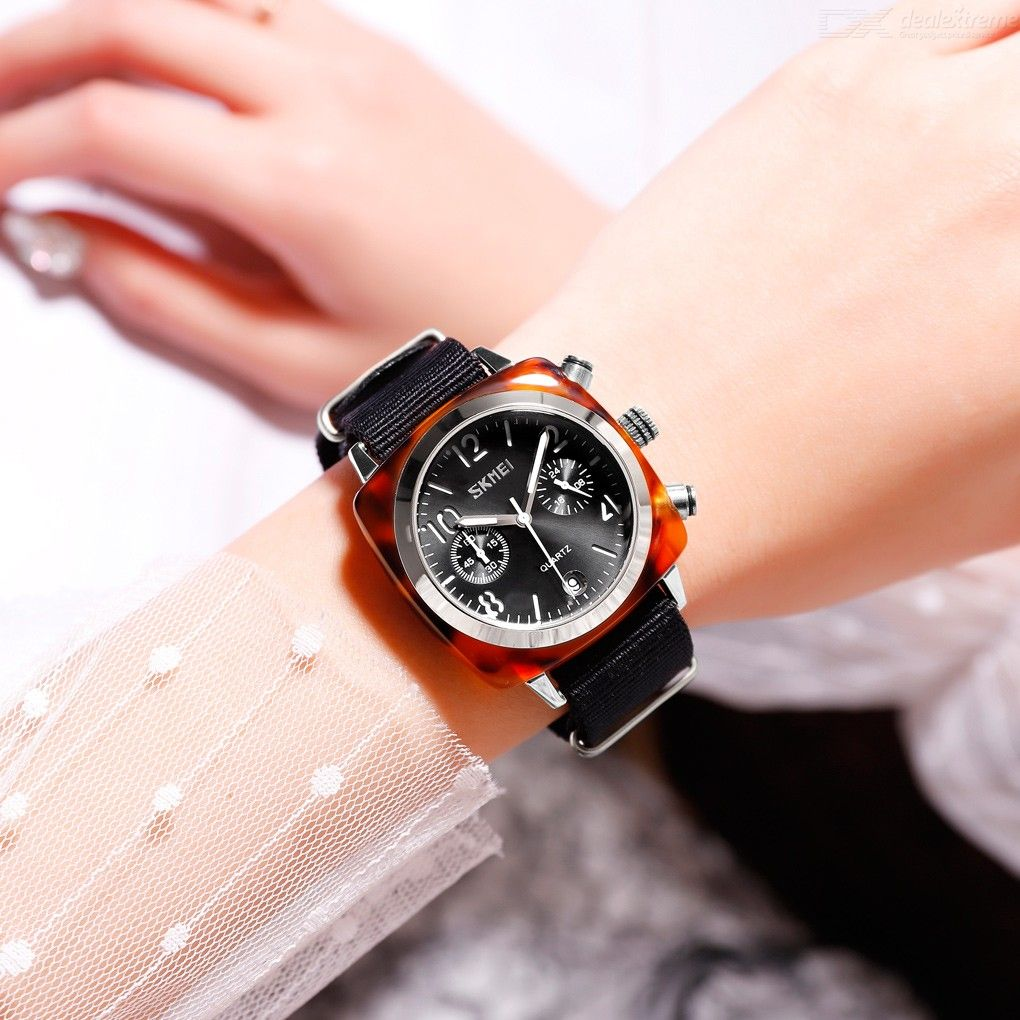 SKMEI Simple Quartz Wristwatches Waterproof Women Watch With Nylon Strap 9186
