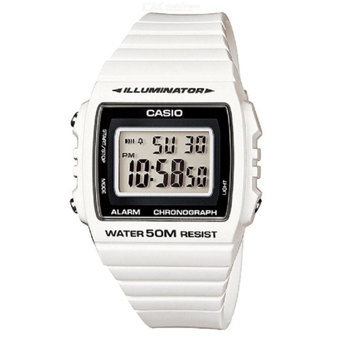 CASIO W-215H-7AVDF Men's Wristwatch - White + Black (Without Box)