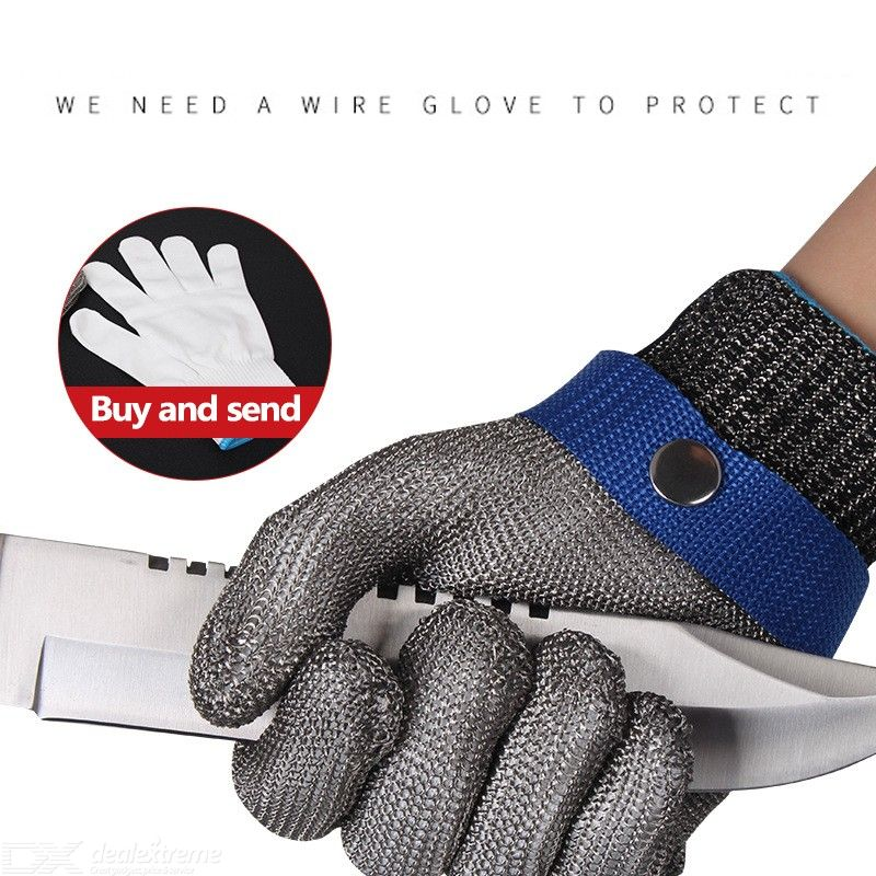 1PC Cut Resistant Glove Reversible Stainless Steel Glove Cut Level 5 Protection