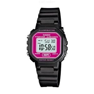 Casio LA-20WH-4A Chronograph Alarm LCD Digital Watch - Black and Pink (Without Box)