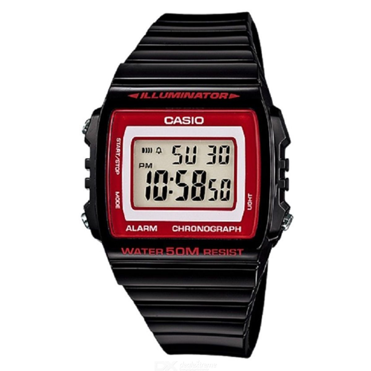 CASIO W-215H-1A2VDF Men's Wristwatch - Black + Red (Without Box)