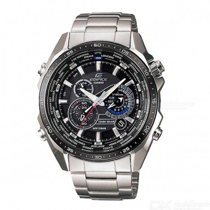 Casio Edifice EQS-500DB-1A1 Solar Powered,World Time,Chronograph,Alarm Men Watch - Silver + Black