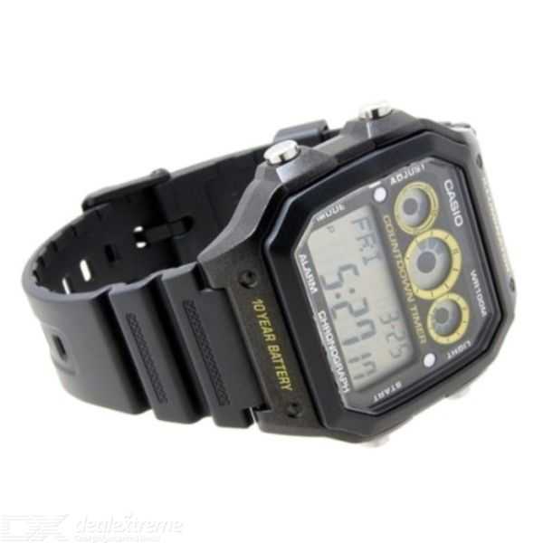 Casio AE-1300WH-1AVDF Digital Alarm Watch - Black/Yellow (Without Box)