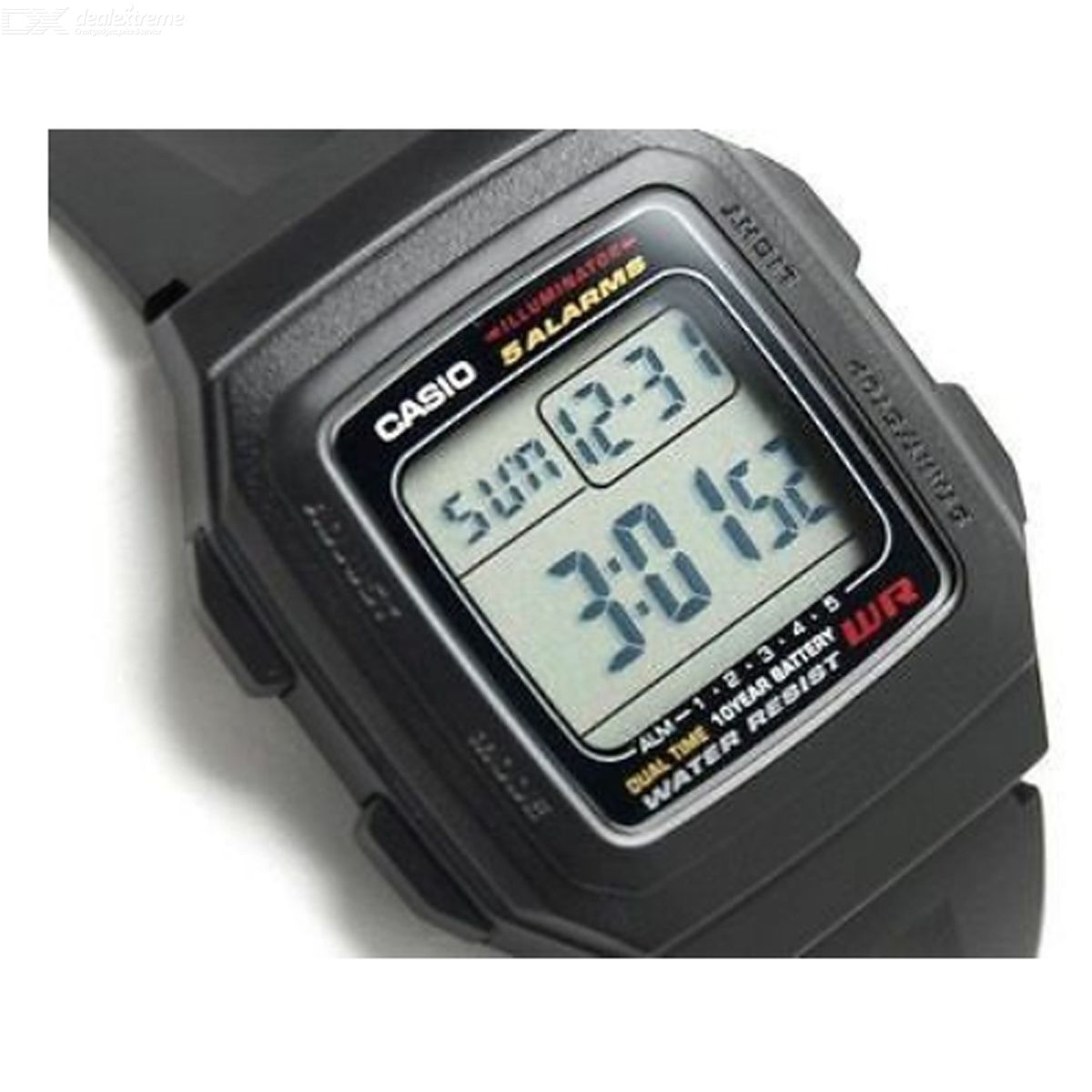 Casio F-201WA-1ADF Men's Digital Sport Watch-Black/Silver(Without Box)
