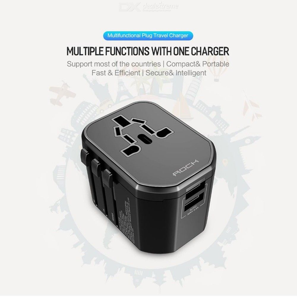 Universal Travel Adapter Type C USB Power Plug Converter For UK EU US Supports PD Fast Charge