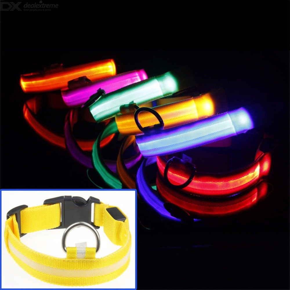 LED Dog Collar Light Up Nylon Pet Collar Battery Powered 3 Light Modes