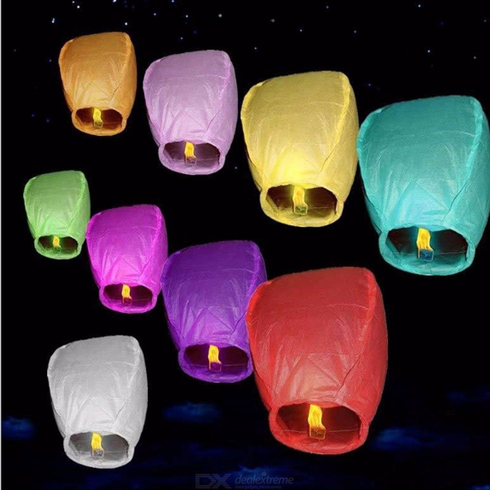 10PCS Sky Flying Lanterns Chinese Fire Floating Pray Lanterns Random Color