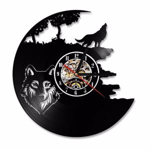 Vinyl Record Wall Clock Stylish Howling Wolf Clock For Home Decor 30cm