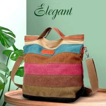 Women-Colored-Striped-Shopping-Handbag-Shoulder-Canvas-Tote-Messenger-Zipper-Bag