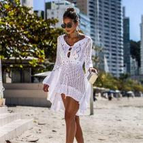 Womens-Swimsuit-Cover-Up-Solid-Openwork-Knit-Beach-Wear