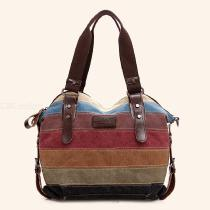Fashion-Canvas-Bag-Women-Handbag-Rainbow-Striped-Patchwork-Casual-Shoulder-Messenger-Bag