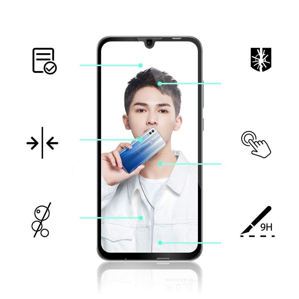 Naxtop Full-glue Full-screen Tempered Glass Screen Protector for Huawei P Smart 2019