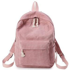 Soft Fabric Bag Corduroy Design School Striped Backpack For Teenage Girls Women