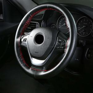 Genuine Leather Steering Wheel Cover Breathable Hole Wheel Covers For Auto Car Interior Accessories 38cm