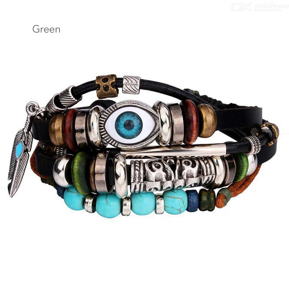Vintage Leather Bracelet Blue Eye Feather Pendant Wristband Wood Beads Hand Chain - from $2.28