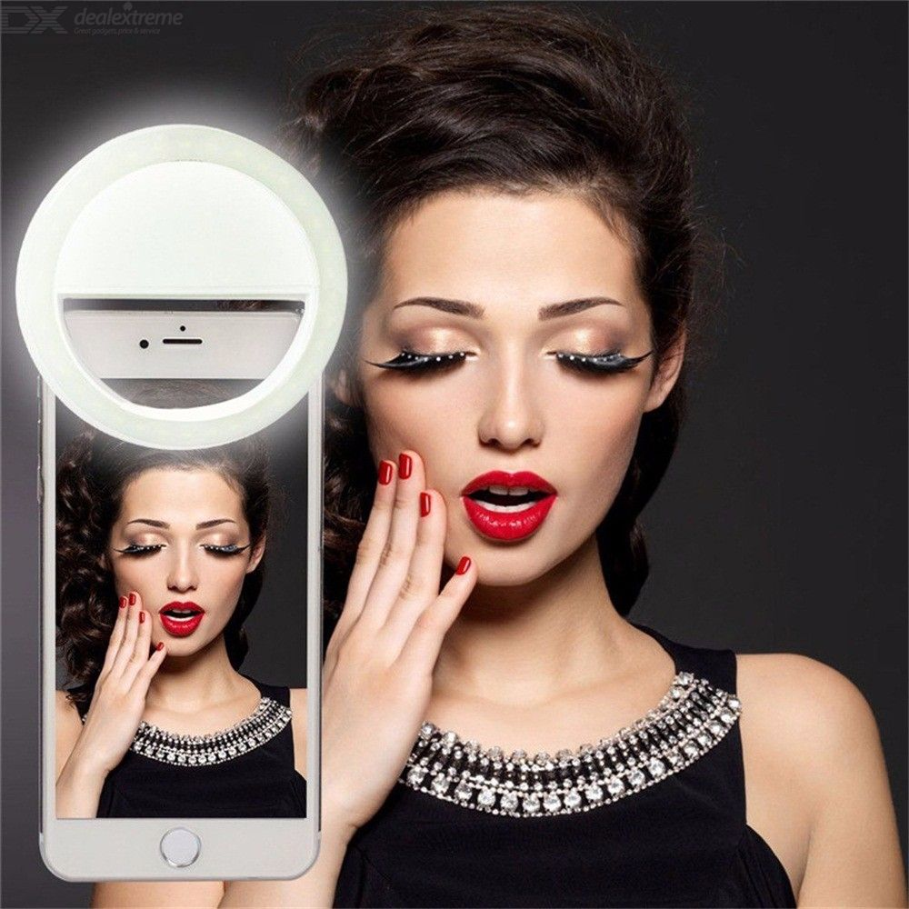 Selfie Light Ring USB Rechargeable Clip-on Phone Camera Lamp With 3 Brightness Levels