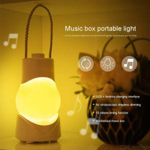 Creative Gaslight Shape Night Lamp Multifunctional Music Box Lighting With Auto Shut Off Timer