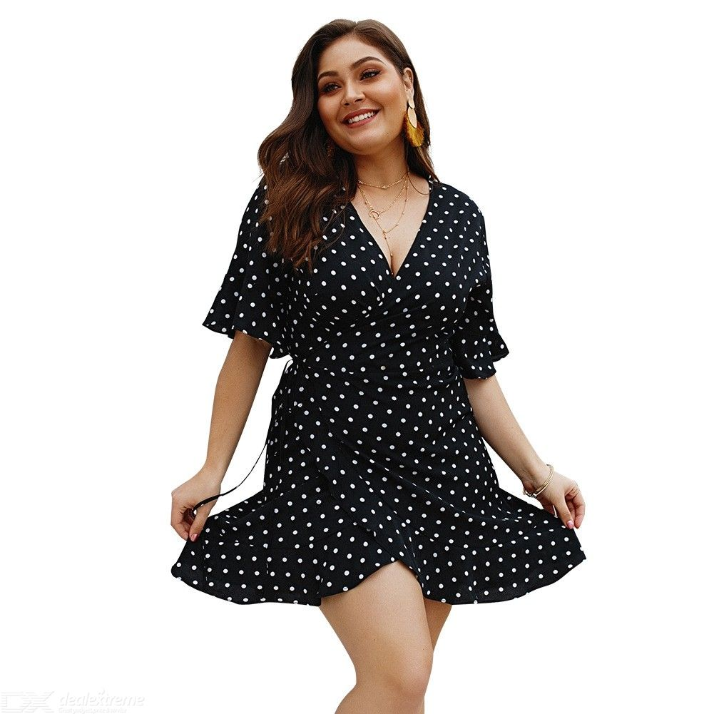 V-neck Dot Dress Plus Size Butterfly Sleeve A-line Dress With Sashes