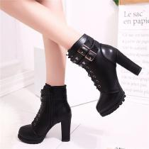 Lace Up High Heel Belt Buckle Metal Decoration Ankle Martin Boots For Women