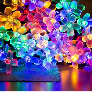 Holiday Landscape Decorative Solar LED Lights Christmas Decoration Flowers RGB Warm White Fairy Interior Lights