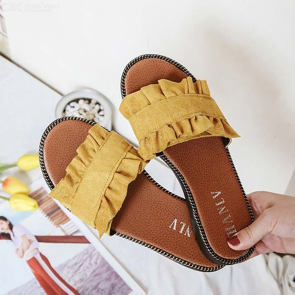 Women Lace Word Slippers Flat With Casual Slippers Wild Students Beach Shoes