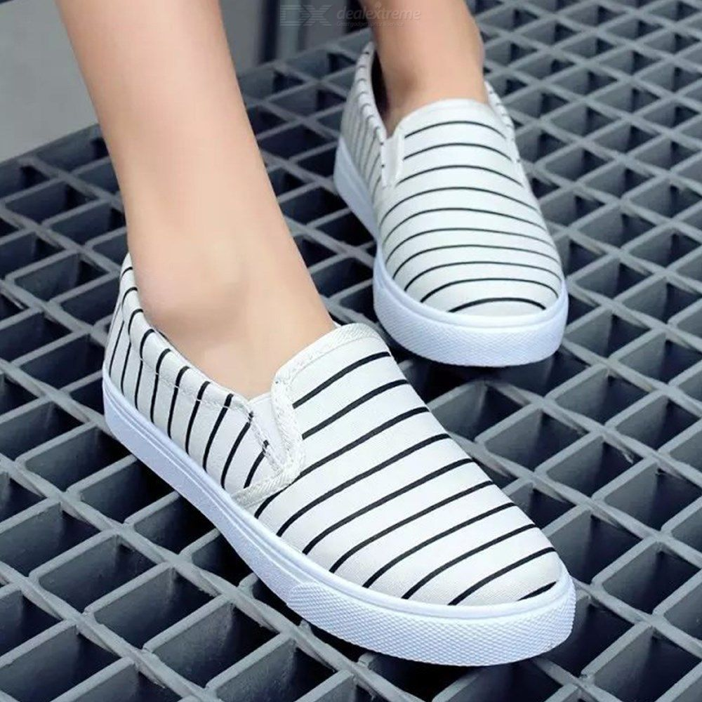 Shallow Mouth Of Canvas Shoes Women Casual Student Flat Bottom Striped Shoes
