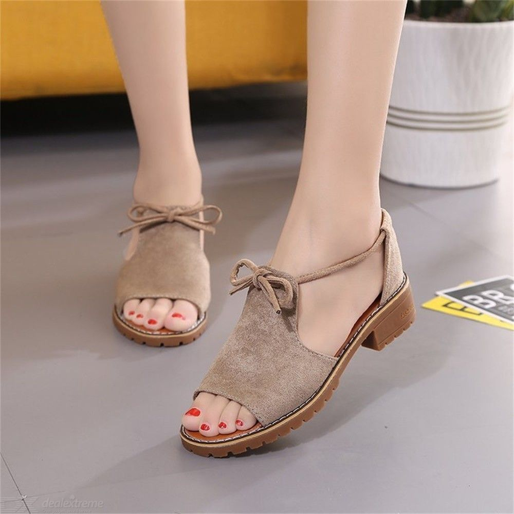 Roman Sandals Women Cover Square Heel Summer Beach Shoes