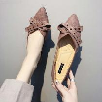 Women-Flock-Loafers-Casual-Pointed-Toe-Butterfly-knot-Metal-Buckle-Shoes