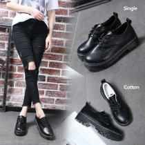 Retro-Flat-Single-Doll-Shoes-Wild-College-Wind-PU-Round-Toe-Lace-Up-Shoes-For-Women