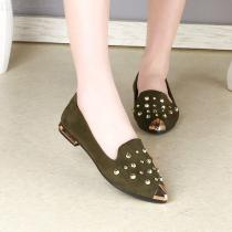 Women-Shoes-PU-Flats-Rivet-Creepers-Pointed-Toe-Lazy-Loafers