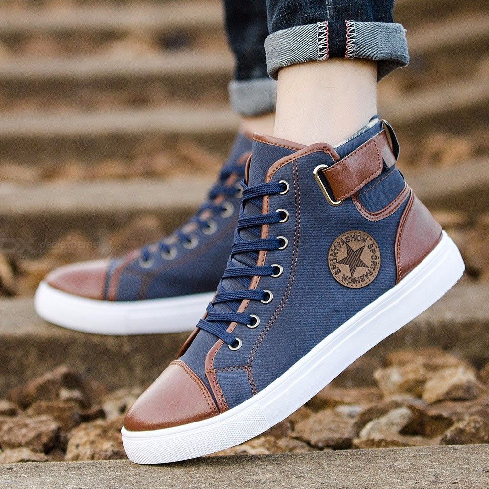 Mens High-top Canvas Shoes Spring Autumn Fashion Lace-up High Style Sneakers