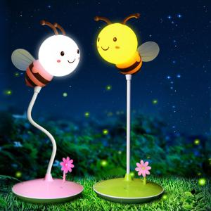 Cute Bee Shape Night Light USB Cartoon Bedside Lamp With 3 Brightness Levels Timer
