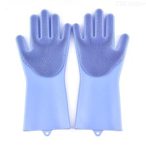 1 Pair Of Multifunctional Silicone Gloves With Scrubber For Kitchen/Car/Bathroom