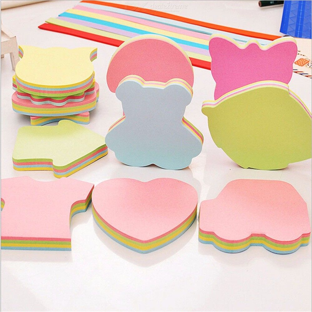 100 Pages Multicolor Sticky Notes Cute Love Memo Pads Sticker Post Bookmark Marker Flags Planner