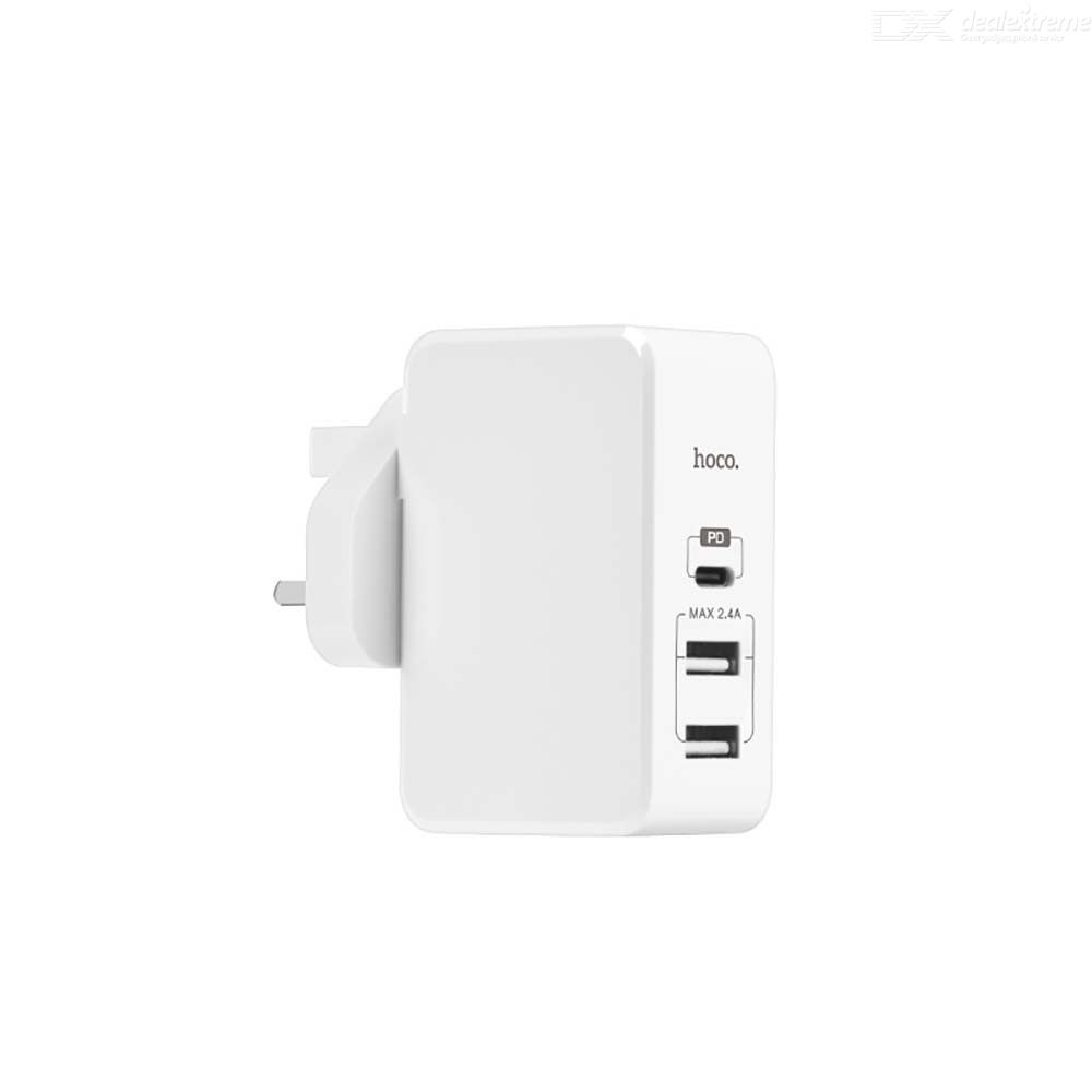 Charger Block 2 USB 1 Type C Wall Charging Device 2.4A Supports PD Fast Charge - UK Plug